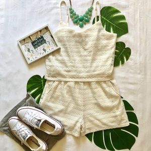Like New! Beige Lace Romper